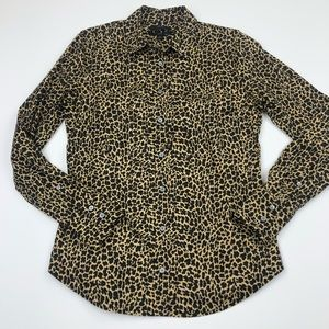 J Crew Button Up Animal Leopard Print Slim #K2528